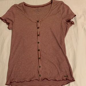 Hollister Co. Red and White Henley Top